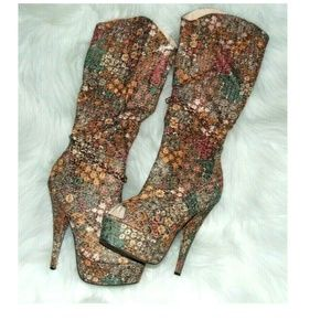 Shoes - Sexy Calf Boots Floral Stiletto Size 8 Chain Open